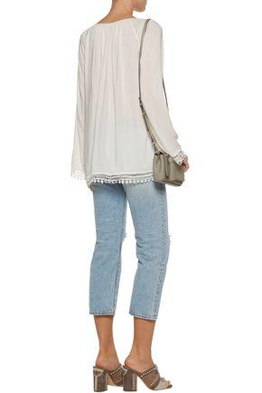 TART Cyra crochet-trimmed broadcloth top