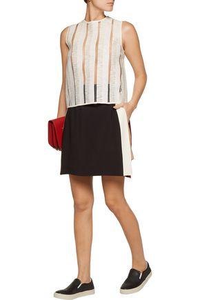 MSGM Striped skirt-effect crepe shorts