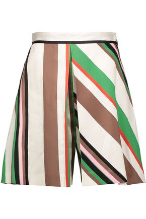 MSGM Skirt-effect striped linen-blend shorts