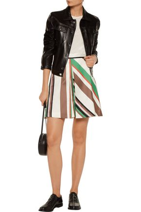 MSGM Skirt-effect striped linen-blend shorts