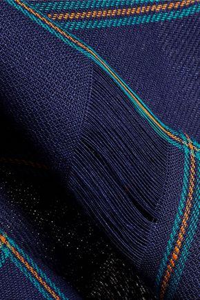 MSGM Fringed plaid linen top