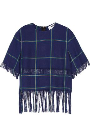 MSGM Fringed plaid linen top
