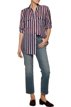 EQUIPMENT Major striped silk-chiffon shirt