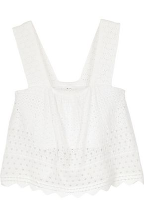 A.L.C. Elodie layered bandage and pointelle-knit top