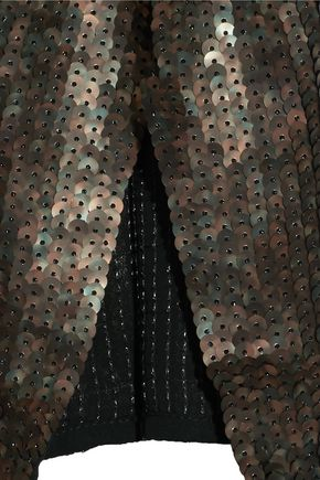 TIBI Sequined silk-chiffon top