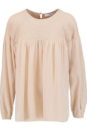 TIBI Shirred silk-satin top