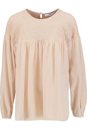 TIBI Shirred silk-satin top