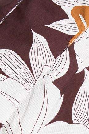 MARNI Pleated printed cotton-poplin top