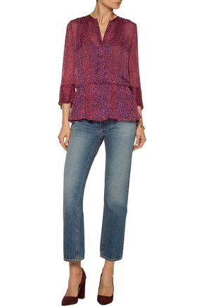 L'AGENCE Frances pintucked printed silk top