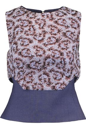 ANTONIO BERARDI Fluted metallic jacquard and twill top