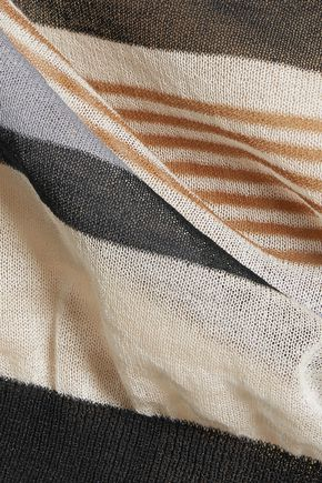 SUNO Cropped striped cotton-blend tank