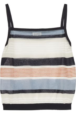 SUNO Cropped striped cotton-blend tank
