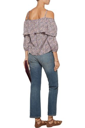 W118 by WALTER BAKER Pamela cutout printed voile top