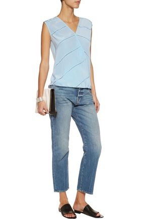 BAILEY 44 Hot Springs cutout embroidered washed-silk and jersey top