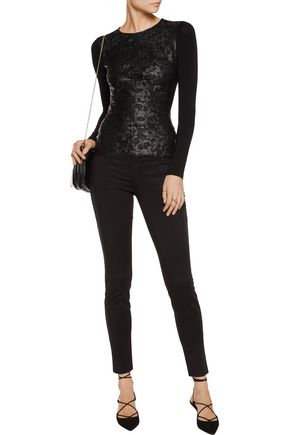 BAILEY 44 Kathy metallic corded lace and jersey top