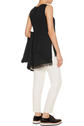 THEORY Fringed silk-crepe top
