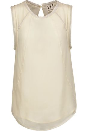 HAUTE HIPPIE Chain of Fools embellished silk crepe de chine top