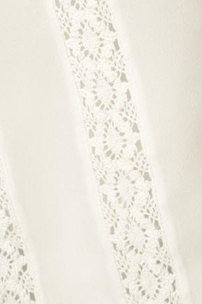 HAUTE HIPPIE Crocheted silk crepe de chine shirt