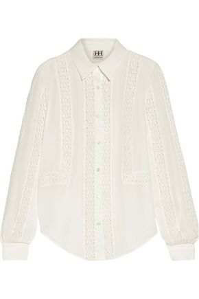 HAUTE HIPPIE Crocheted silk crepe de chine shirt
