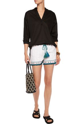 TALITHA Pia fringed embellished crocheted shorts