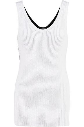 RAG & BONE Felice two-tone ribbed cotton-blend tank