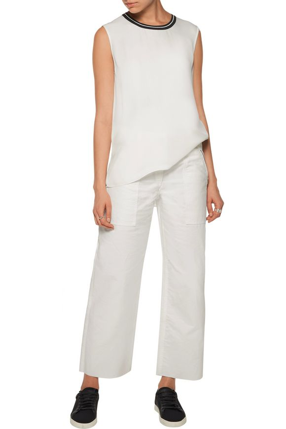 Romy knit-trimmed silk crepe de chine top | RAG & BONE | Sale up to 70% off  | THE OUTNET