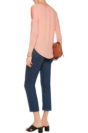 HALSTON HERITAGE Modal-jersey and crepe de chine top