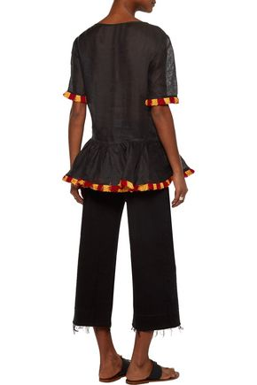 MARCH 11 Star fringed embroidered linen peplum top