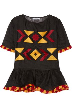 MARCH11 Star fringed embroidered linen peplum top