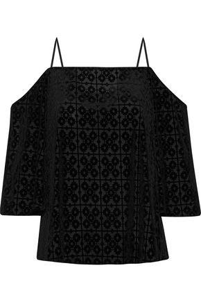 BAILEY 44 Cold-shoulder velvet-appliquéd mesh top