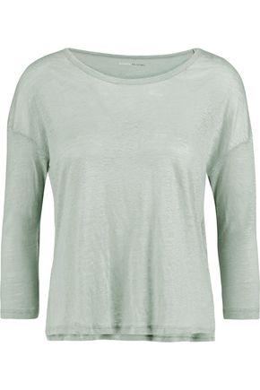 MAJESTIC Linen slub-jersey top