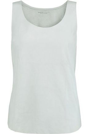 MAJESTIC Suede and linen-jersey tank