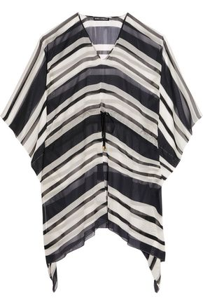 DOLCE & GABBANA Striped silk-chiffon coverup