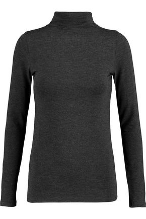 MAJESTIC Stretch-jersey turleneck sweater