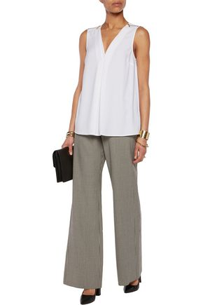 MICHAEL MICHAEL KORS Zip-embellished pleated crepe top
