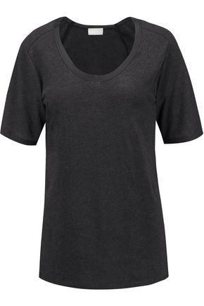 DKNY PURE Silk-trimmed modal-blend jersey T-shirt