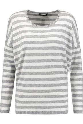 DKNY Striped stretch-knit top