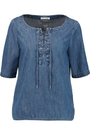 RAG & BONE Lace-up denim top