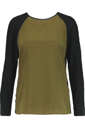 W118 by WALTER BAKER Carol faux leather-trimmed silk-chiffon top
