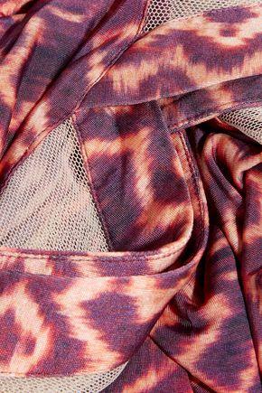 VIX Kara Vivian printed stretch-jersey and mesh kaftan