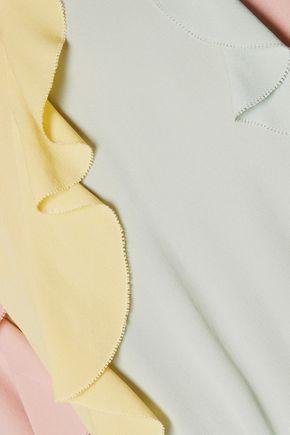 VALENTINO Ruffled silk-crepe playsuit