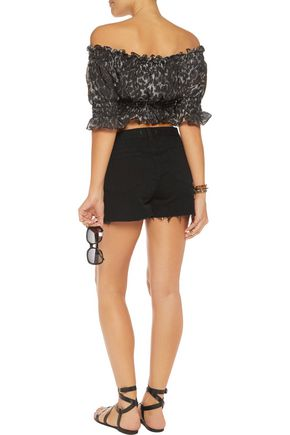 NORMA KAMALI Cropped smocked printed chiffon top