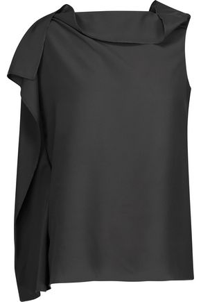 RAOUL Sadie draped crepe de chine top