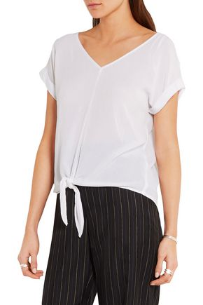 SPLENDID Tie-front crinkled-gauze top