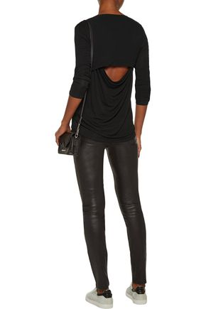SPLENDID Cutout draped stretch-jersey top