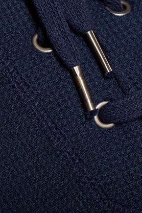 SPLENDID Weekend lace-up waffle-knit hooded sweatshirt