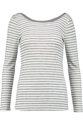 SPLENDID Ballet striped ribbed-jersey top