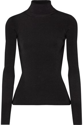 ELIZABETH AND JAMES Renner cutout ribbed stretch-knit turtleneck top