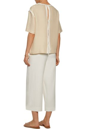 SANDRO Emilou silk chiffon-trimmed linen and cotton-blend top