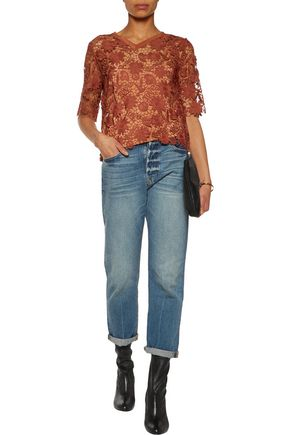 SANDRO Edma silk-trimmed guipure lace top